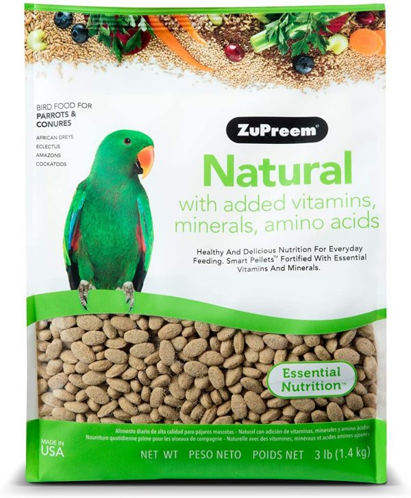 ZuPreem Natural Bird Food for Parrots and Conures | Made in The USA, Essential Vitamins, Minerals, Amino Acids for Conures, African Greys, Senegals, Amazons, Eclectus, Cockatoos (3 lb Bag (2-Pack))