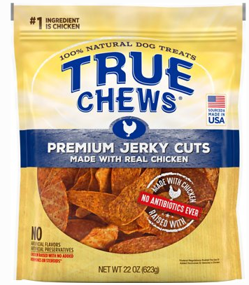 Description Because only the best will do for your best friend, reward him with True Chews Premium Jerky Cuts with Real Chicken Dog Treats. They're made with U.S.-sourced chicken that's raised without antibiotics, hormones or steroids for a high-protein jerky treat that satisfies and nourishes in every bite. Since they contain zero corn, wheat, soy or anything artificial, you can truly feel good about treating your pal every day. Make your canine companion's journey a little better each day with a delicious, premium-quality treat you can trust because it's made right here in the USA using only the finest natural ingredients. Key Benefits 100% U.S.-sourced chicken raised without antibiotics, hormones or steroids is the very first ingredient. Natural flavors and spices add a smoky, savory flavor to the meaty texture of jerky that your pooch is sure to love. Soft, chewy strips make a perfect snack any time as well as an ideal training treat when broken into smaller pieces. Made in the USA with absolutely no corn, soy, wheat, animal by-products or artificial flavors or preservatives. Comes in a convenient resealable pack so you can take them along to give your pup a tasty reward or energizing pick-me-up while on the go.